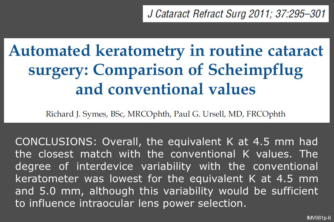 IMV081p-6 CONCLUSIONS: Overall, the equivalent K at 4.5 mm had the closest match with the conventional K values. The degree of interdevice variability