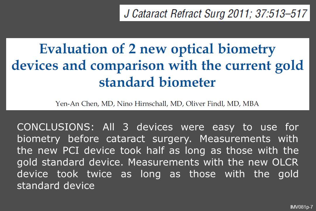 IMV081p-88 fator de correção - olho fácico (1.548m/seg) L x 73.57% - olho afácico (1.532m/seg) L x 68.66% exemplo: 32.00mm x 73.57% = 23.54mm