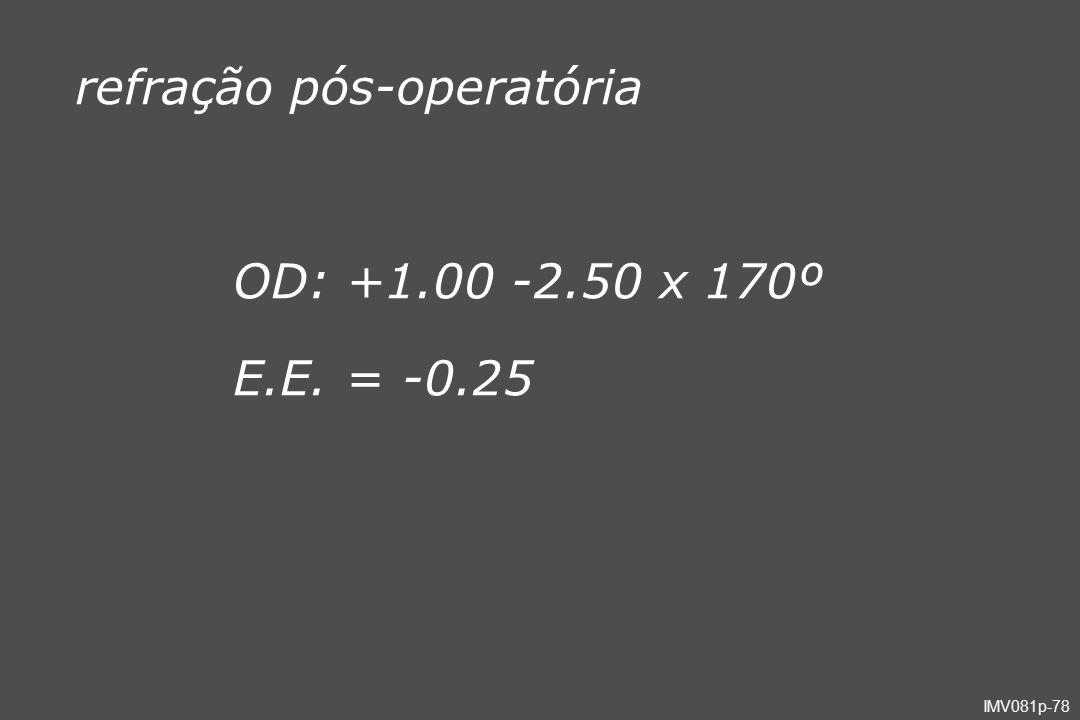 IMV081p-78 OD: +1.00 -2.50 x 170º E.E. = -0.25 refração pós-operatória