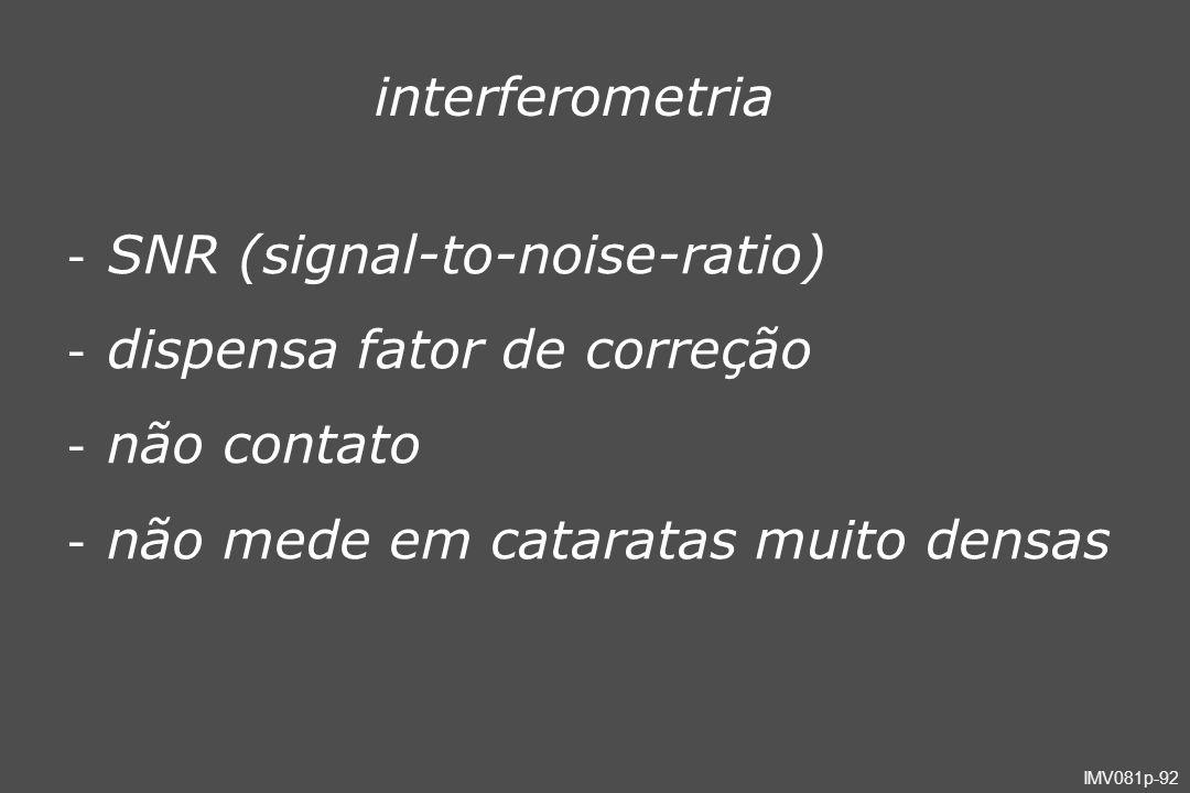 IMV081p-92 interferometria - SNR (signal-to-noise-ratio) - dispensa fator de correção - não contato - não mede em cataratas muito densas