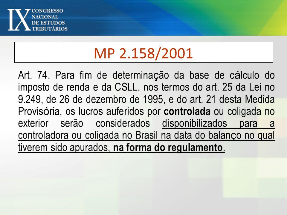 MP 2.158/2001 Art. 74. Para fim de determina ç ão da base de c á lculo do imposto de renda e da CSLL, nos termos do art. 25 da Lei no 9.249, de 26 de