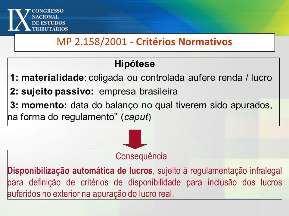 MP 2.158/2001 - Critérios Normativos Hipótese 1: materialidade: coligada ou controlada aufere renda / lucro 2: sujeito passivo: empresa brasileira 3: