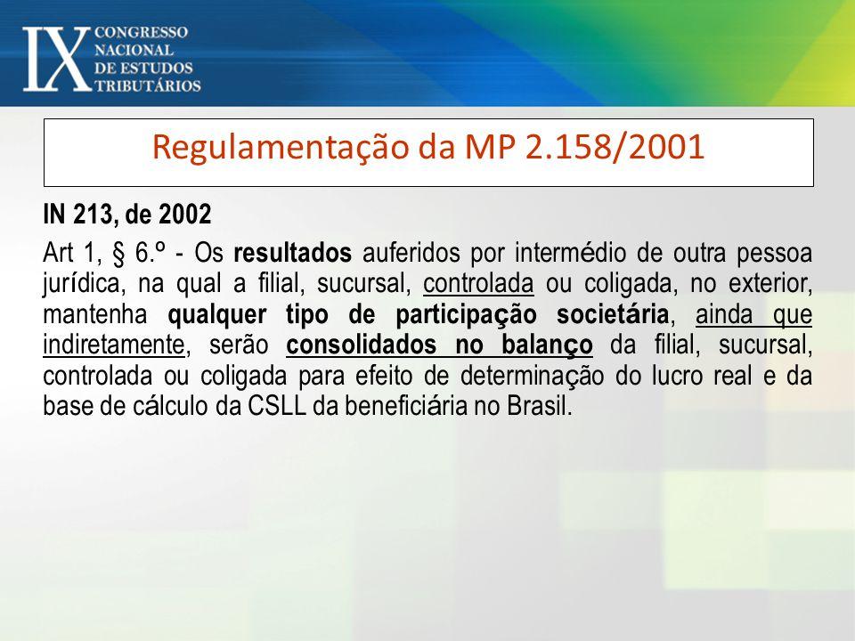 Regulamentação da MP 2.158/2001 IN 213, de 2002 Art 1, § 6. º - Os resultados auferidos por interm é dio de outra pessoa jur í dica, na qual a filial,