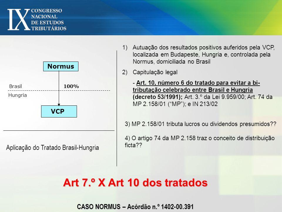 Art 7.º X Art 10 dos tratados CASO NORMUS – Acórdão n.º 1402-00.391 Normus VCP Hungria Brasil100% Aplicação do Tratado Brasil-Hungria 1)Autuação dos r