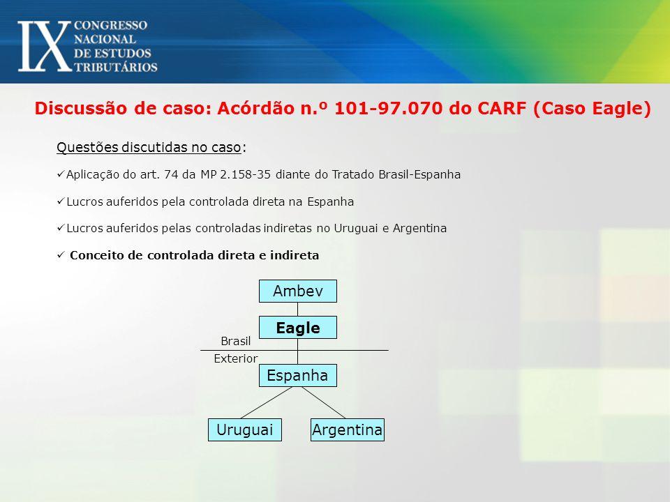 Discussão de caso: Acórdão n.º 101-97.070 do CARF (Caso Eagle) Ambev Eagle Espanha UruguaiArgentina Exterior Brasil Questões discutidas no caso: Aplic
