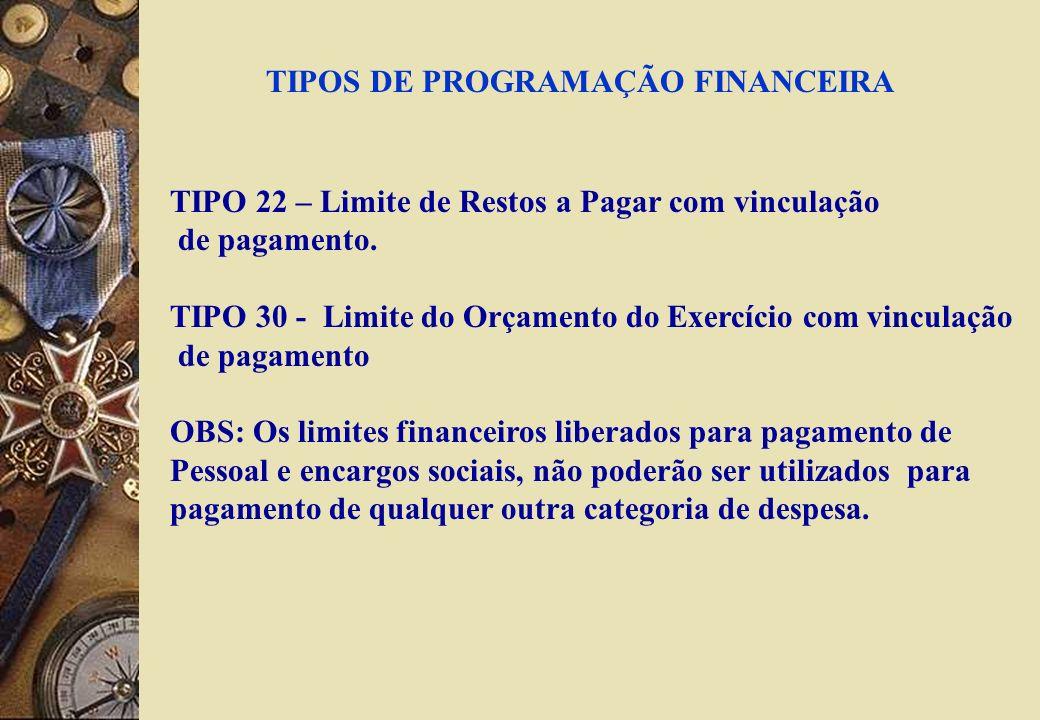 TIPOS DE PROGRAMAÇÃO FINANCEIRA TIPO 22 – Limite de Restos a Pagar com vinculação de pagamento.