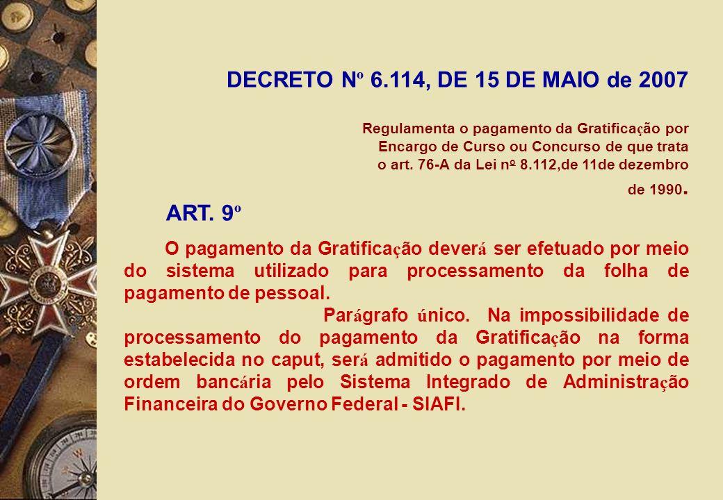 DECRETO N º 6.114, DE 15 DE MAIO de 2007 Regulamenta o pagamento da Gratifica ç ão por Encargo de Curso ou Concurso de que trata o art.