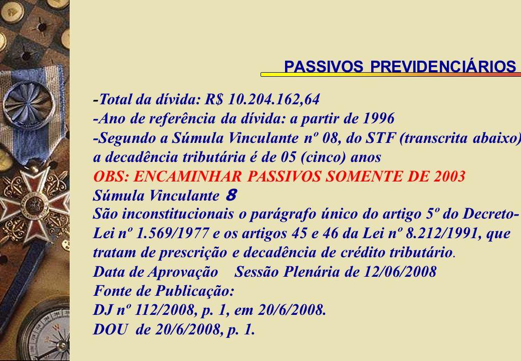 PASSIVOS PREVIDENCIÁRIOS -Total da dívida: R$ 10.204.162,64 -Ano de referência da dívida: a partir de 1996 -Segundo a Súmula Vinculante nº 08, do STF (transcrita abaixo), a decadência tributária é de 05 (cinco) anos OBS: ENCAMINHAR PASSIVOS SOMENTE DE 2003 Súmula Vinculante 8 São inconstitucionais o parágrafo único do artigo 5º do Decreto- Lei nº 1.569/1977 e os artigos 45 e 46 da Lei nº 8.212/1991, que tratam de prescrição e decadência de crédito tributário.
