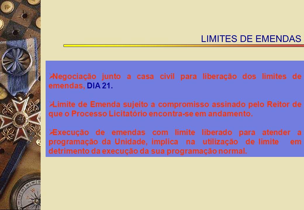 LIMITES DE EMENDAS Negociação junto a casa civil para liberação dos limites de emendas, DIA 21.
