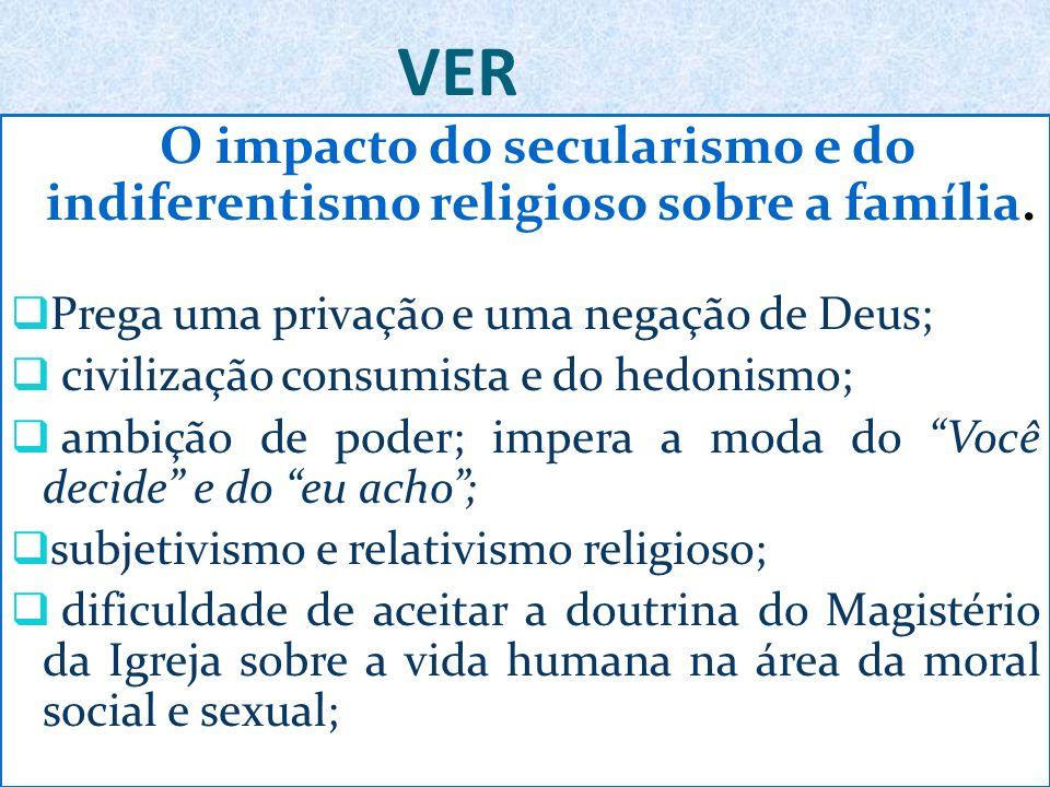 VER O impacto do secularismo e do indiferentismo religioso sobre a família.