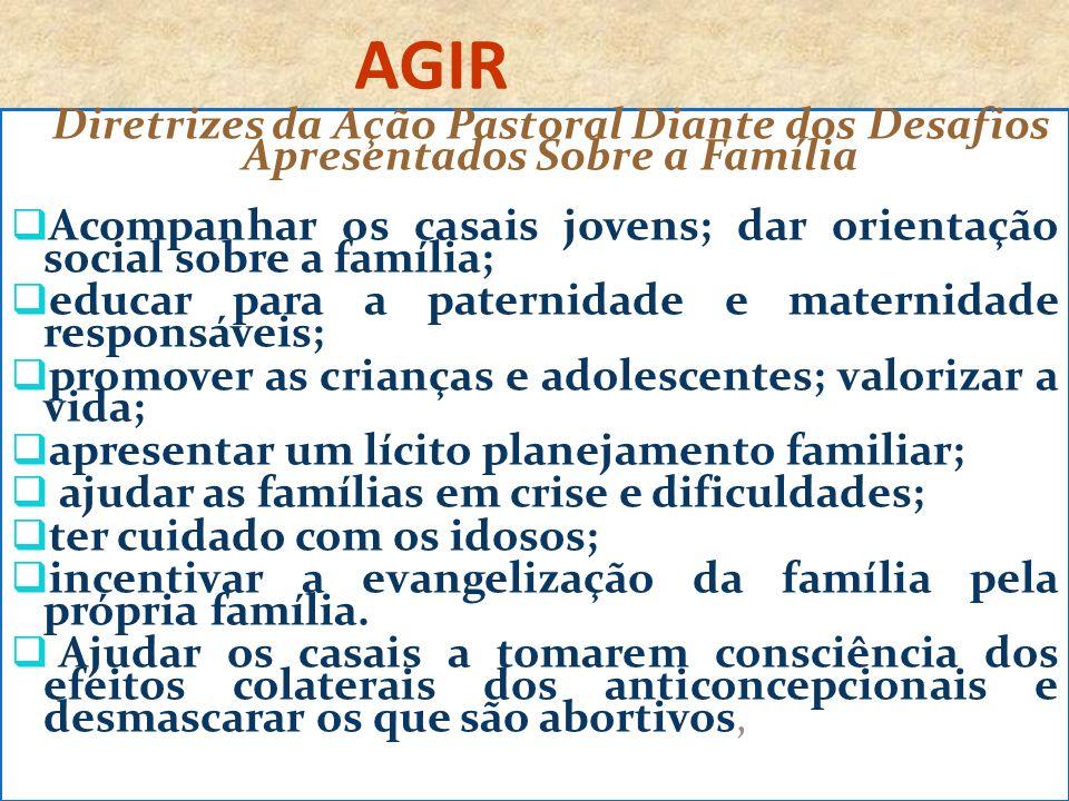 AGIR Diretrizes da Ação Pastoral Diante dos Desafios Apresentados Sobre a Família Acompanhar os casais jovens; dar orientação social sobre a família;