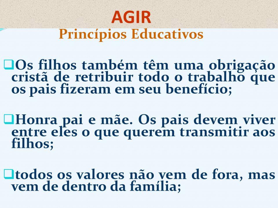 AGIR Princípios Educativos Os filhos também têm uma obrigação cristã de retribuir todo o trabalho que os pais fizeram em seu benefício; Honra pai e mã