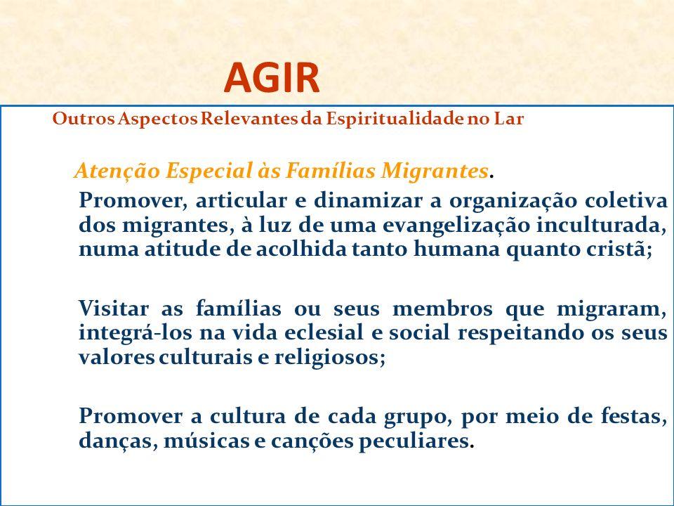 AGIR Outros Aspectos Relevantes da Espiritualidade no Lar Atenção Especial às Famílias Migrantes. Promover, articular e dinamizar a organização coleti