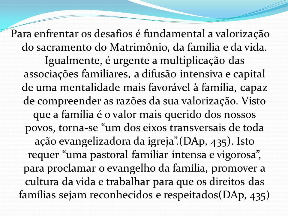 Para enfrentar os desafios é fundamental a valorização do sacramento do Matrimônio, da família e da vida. Igualmente, é urgente a multiplicação das as