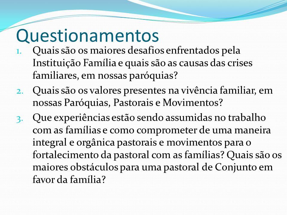 Questionamentos 1. Quais são os maiores desafios enfrentados pela Instituição Família e quais são as causas das crises familiares, em nossas paróquias