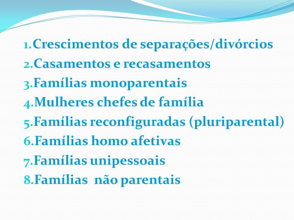 1. Crescimentos de separações/divórcios 2. Casamentos e recasamentos 3. Famílias monoparentais 4. Mulheres chefes de família 5. Famílias reconfigurada