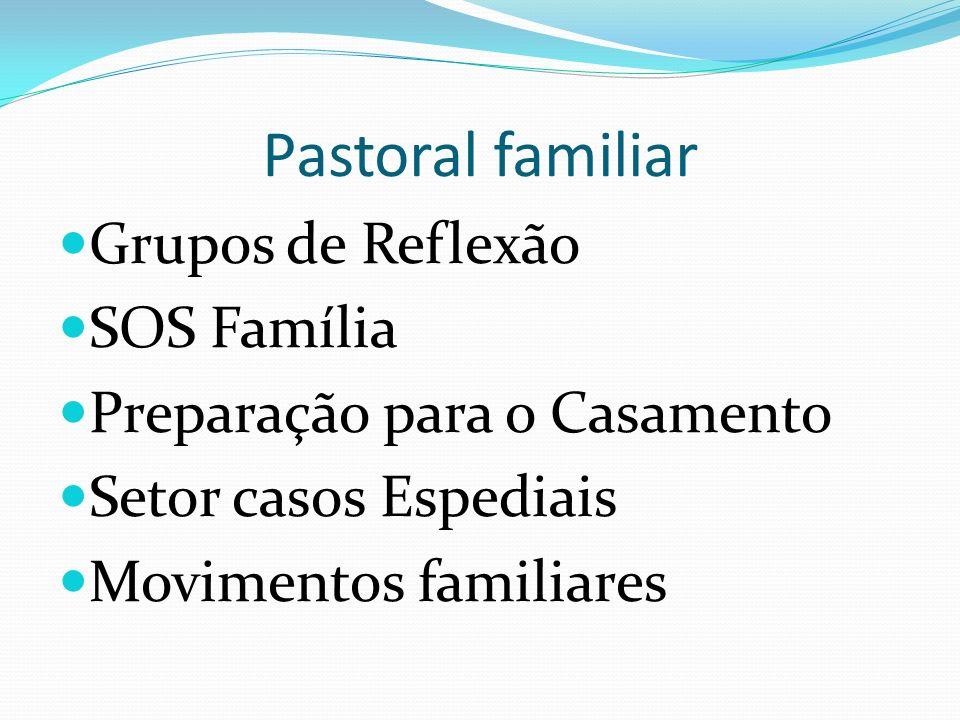 Pastoral familiar Grupos de Reflexão SOS Família Preparação para o Casamento Setor casos Espediais Movimentos familiares