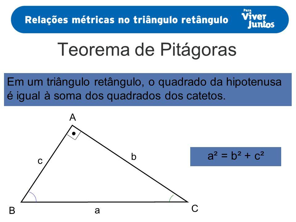 Teorema de Pitágoras A B C a b c Em um triângulo retângulo, o quadrado da hipotenusa é igual à soma dos quadrados dos catetos. a² = b² + c²