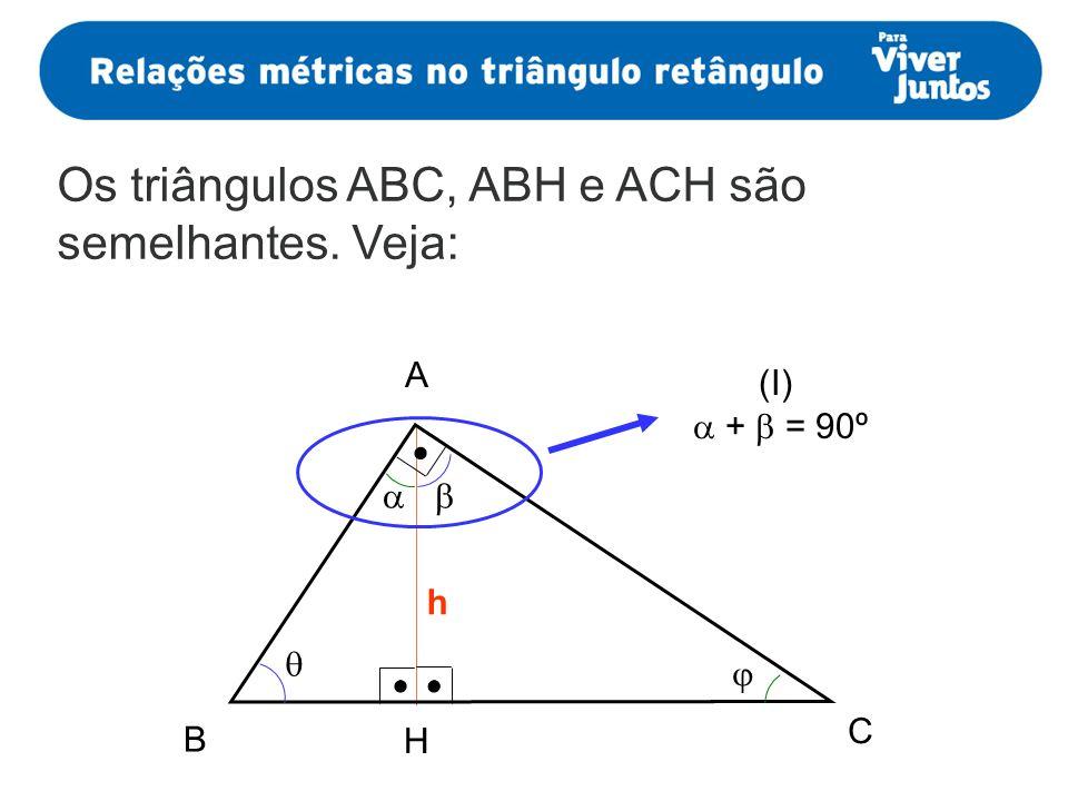 Os triângulos ABC, ABH e ACH são semelhantes. Veja: h (I) + = 90º A B H C