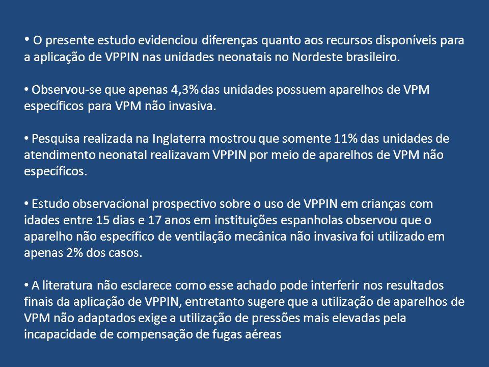 O presente estudo evidenciou diferenças quanto aos recursos disponíveis para a aplicação de VPPIN nas unidades neonatais no Nordeste brasileiro. Obser