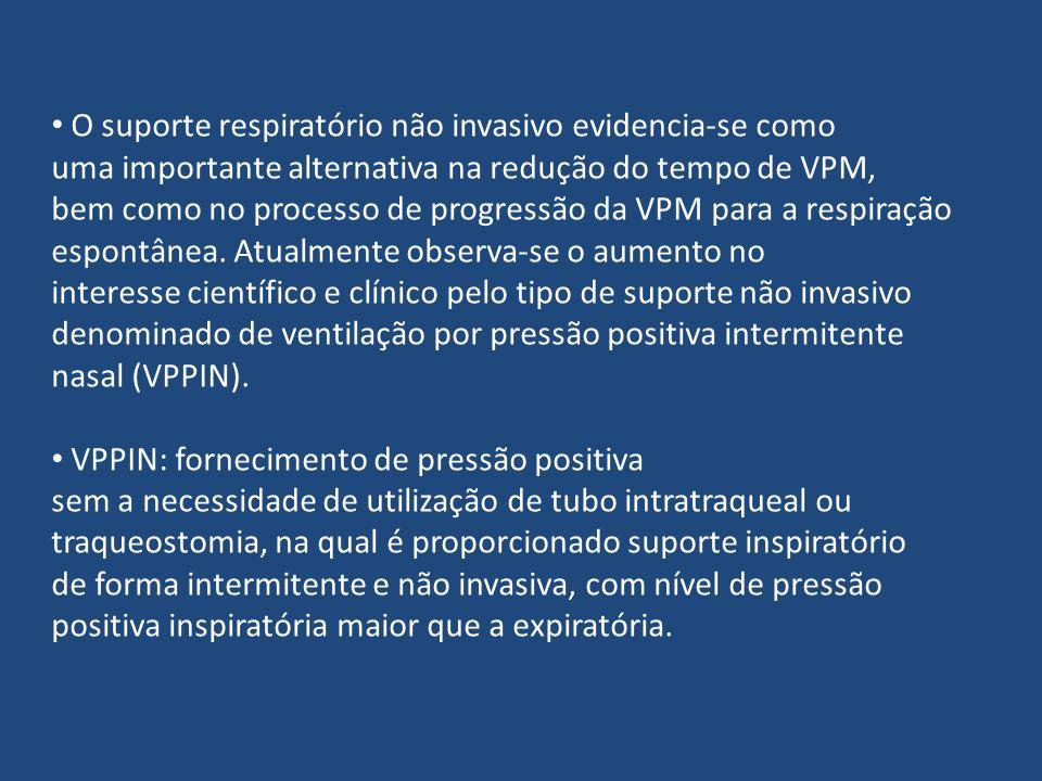 O suporte respiratório não invasivo evidencia-se como uma importante alternativa na redução do tempo de VPM, bem como no processo de progressão da VPM