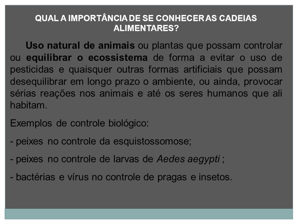QUAL A IMPORTÂNCIA DE SE CONHECER AS CADEIAS ALIMENTARES? Uso natural de animais ou plantas que possam controlar ou equilibrar o ecossistema de forma