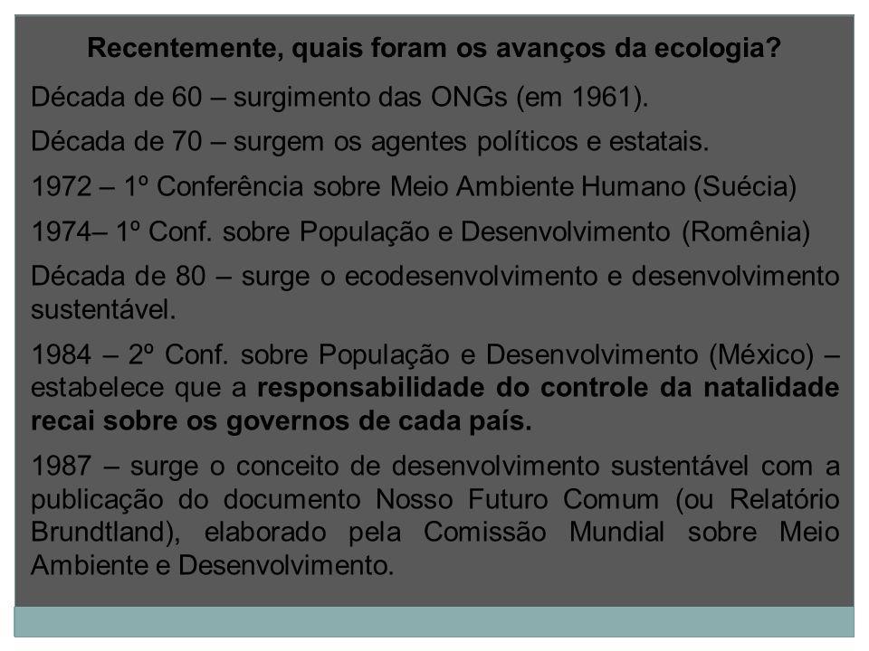 Década de 60 – surgimento das ONGs (em 1961). Década de 70 – surgem os agentes políticos e estatais. 1972 – 1º Conferência sobre Meio Ambiente Humano