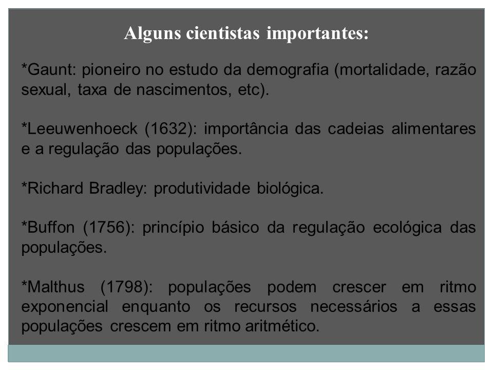 *Gaunt: pioneiro no estudo da demografia (mortalidade, razão sexual, taxa de nascimentos, etc). *Leeuwenhoeck (1632): importância das cadeias alimenta