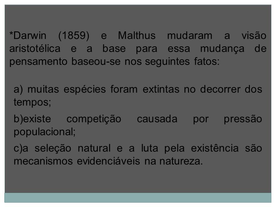 a) muitas espécies foram extintas no decorrer dos tempos; b)existe competição causada por pressão populacional; c)a seleção natural e a luta pela exis