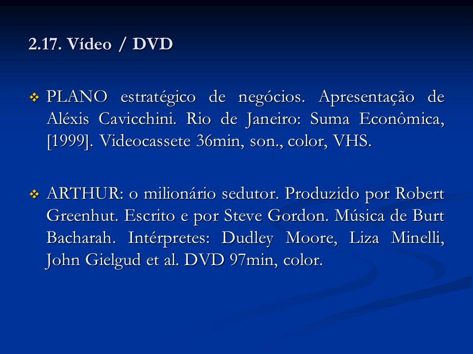 2.17. Vídeo / DVD PLANO estratégico de negócios. Apresentação de Aléxis Cavicchini. Rio de Janeiro: Suma Econômica, [1999]. Videocassete 36min, son.,