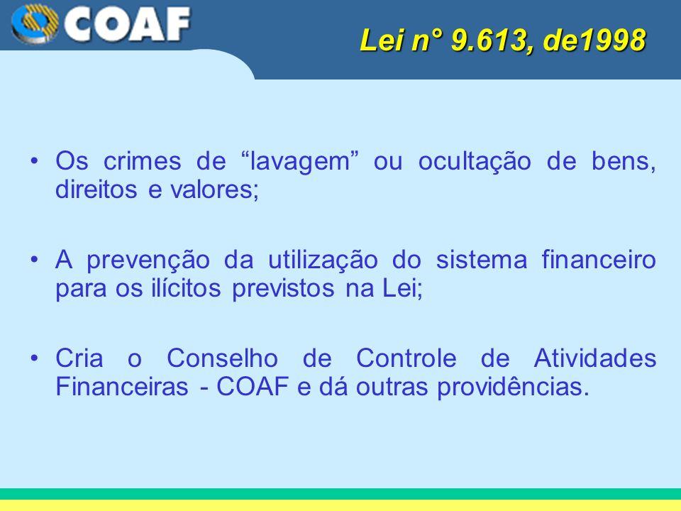 Os crimes de lavagem ou ocultação de bens, direitos e valores; A prevenção da utilização do sistema financeiro para os ilícitos previstos na Lei; Cria