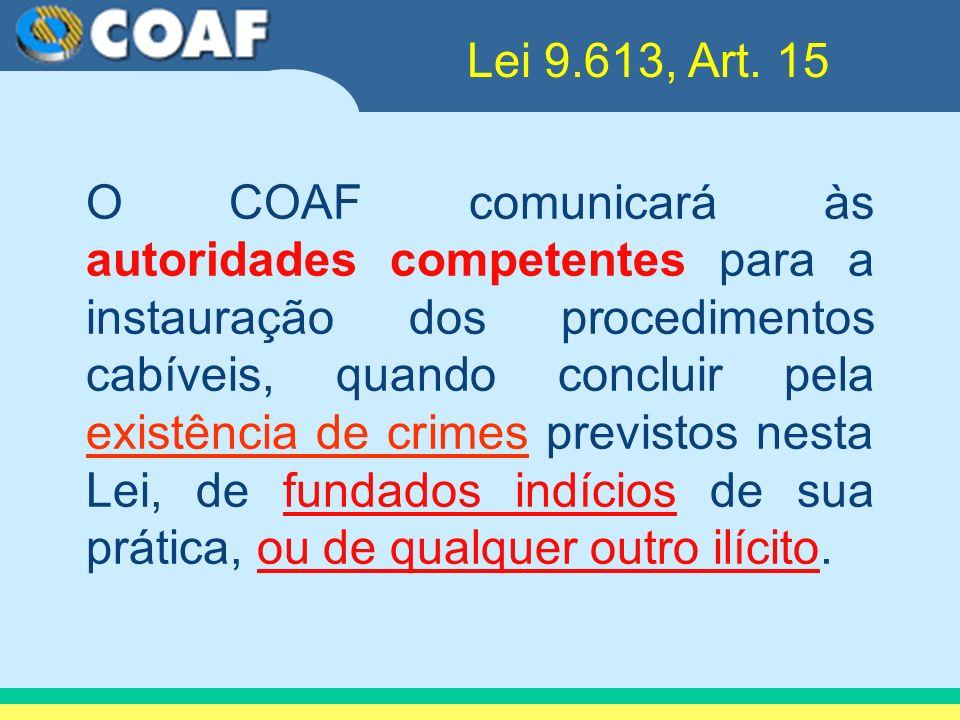 O COAF comunicará às autoridades competentes para a instauração dos procedimentos cabíveis, quando concluir pela existência de crimes previstos nesta