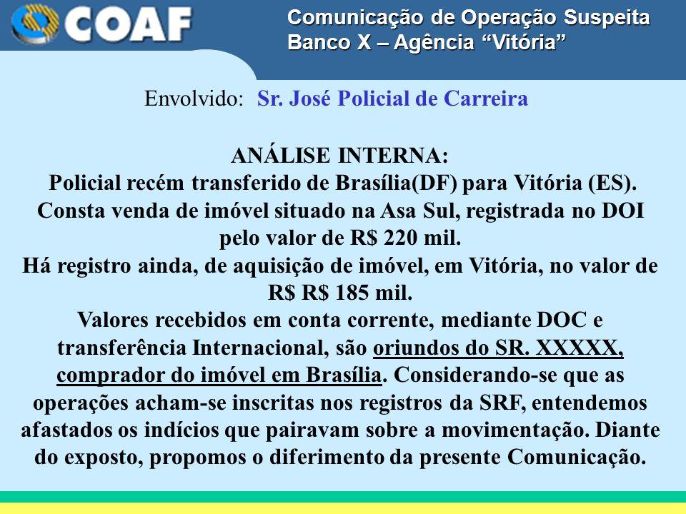 Comunicação de Operação Suspeita Banco X – Agência Vitória Envolvido: Sr. José Policial de Carreira ANÁLISE INTERNA: Policial recém transferido de Bra