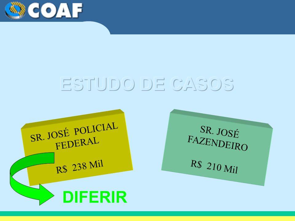 SR. JOSÉ POLICIAL FEDERAL R$ 238 Mil SR. JOSÉ FAZENDEIRO R$ 210 Mil DIFERIR