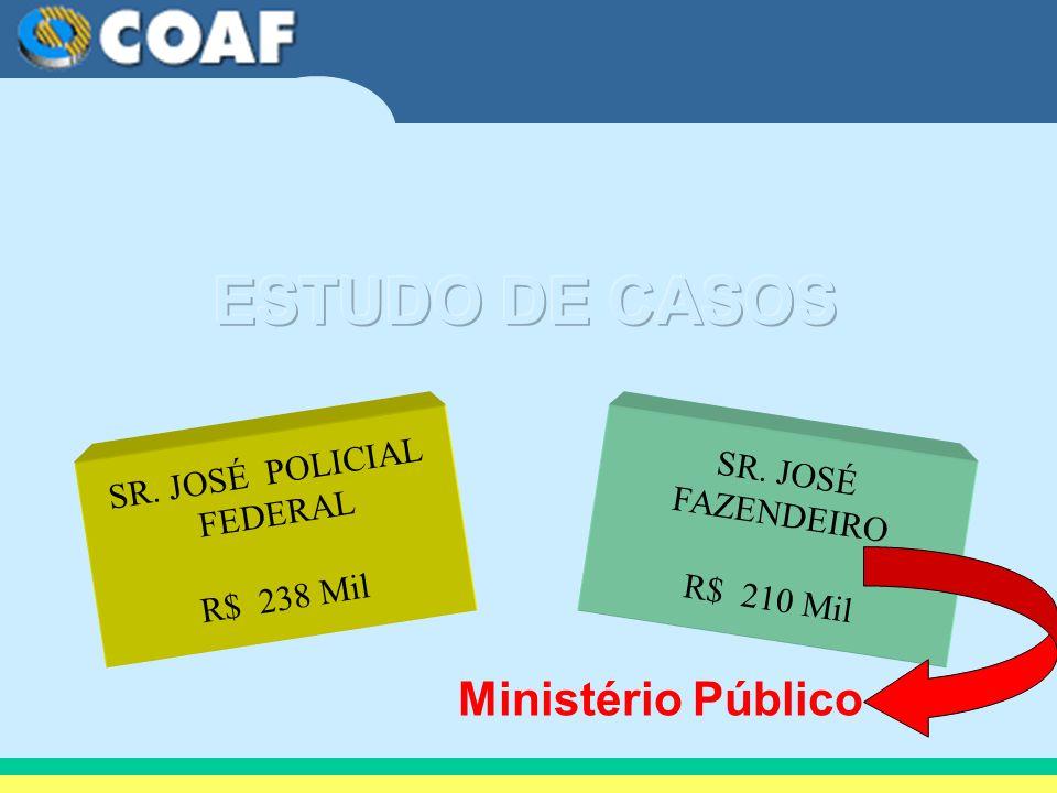 SR. JOSÉ POLICIAL FEDERAL R$ 238 Mil SR. JOSÉ FAZENDEIRO R$ 210 Mil Ministério Público