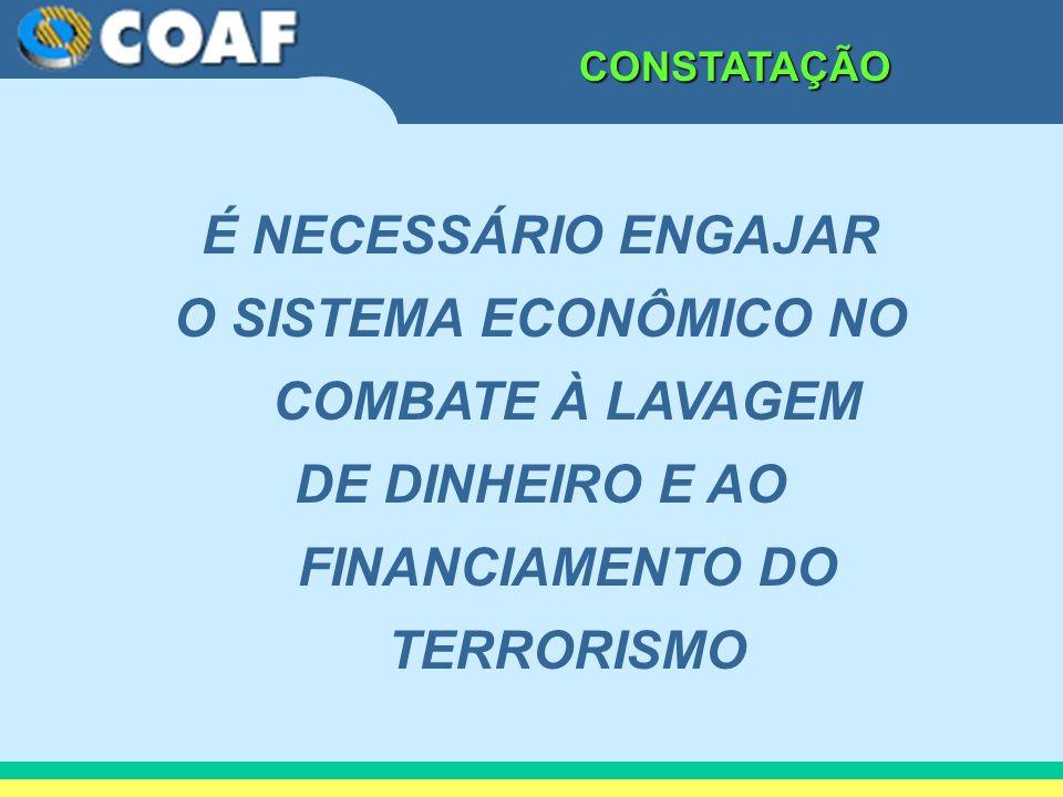 CONSTATAÇÃO É NECESSÁRIO ENGAJAR O SISTEMA ECONÔMICO NO COMBATE À LAVAGEM DE DINHEIRO E AO FINANCIAMENTO DO TERRORISMO