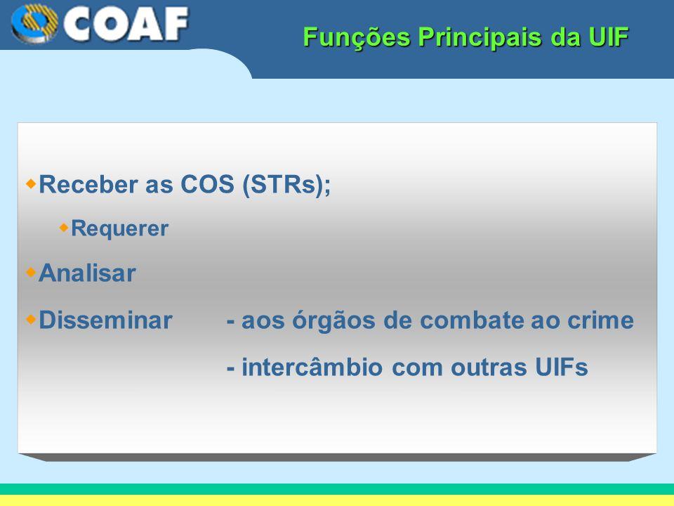 Funções Principais da UIF Receber as COS (STRs); Requerer Analisar Disseminar - aos órgãos de combate ao crime - intercâmbio com outras UIFs