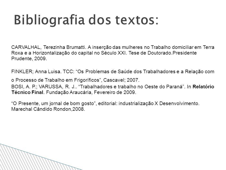Bibliografia dos textos: CARVALHAL, Terezinha Brumatti. A inserção das mulheres no Trabalho domiciliar em Terra Roxa e a Horizontalização do capital n