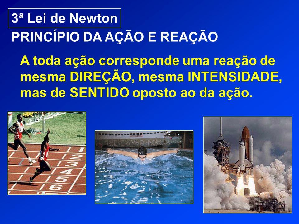 3ª Lei de Newton PRINCÍPIO DA AÇÃO E REAÇÃO A toda ação corresponde uma reação de mesma DIREÇÃO, mesma INTENSIDADE, mas de SENTIDO oposto ao da ação.