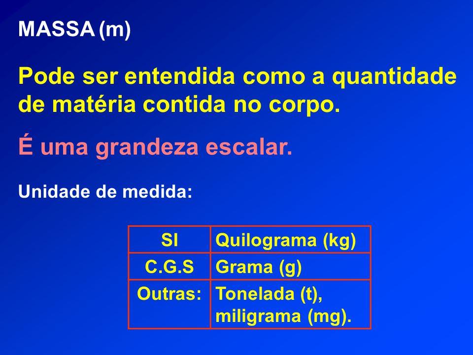 MASSA (m) Pode ser entendida como a quantidade de matéria contida no corpo. É uma grandeza escalar. Unidade de medida: SIQuilograma (kg) C.G.SGrama (g