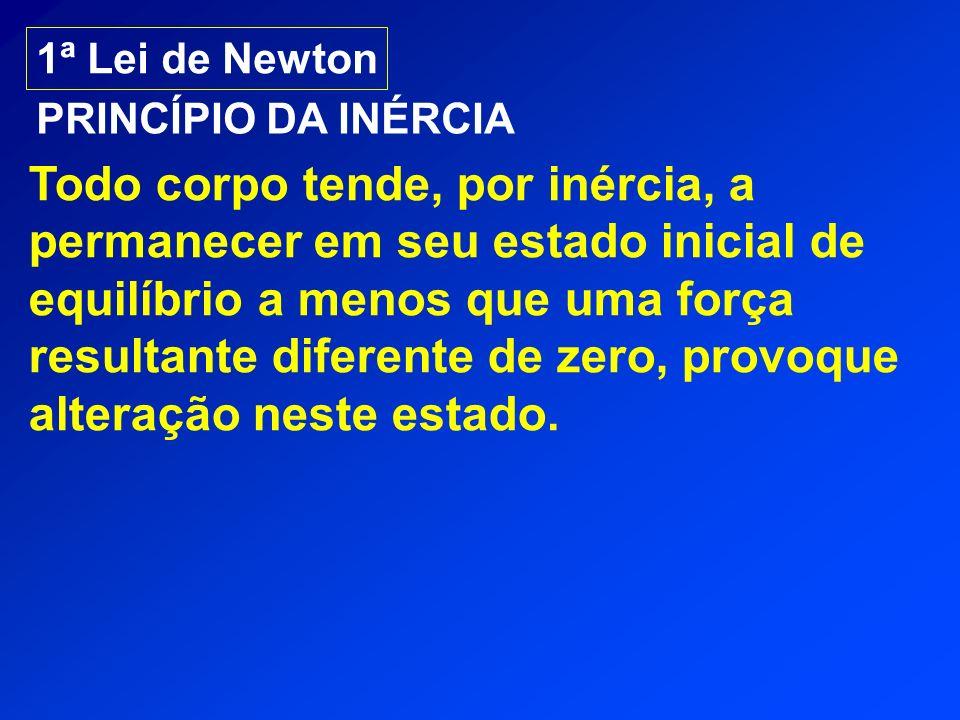 1ª Lei de Newton PRINCÍPIO DA INÉRCIA Todo corpo tende, por inércia, a permanecer em seu estado inicial de equilíbrio a menos que uma força resultante