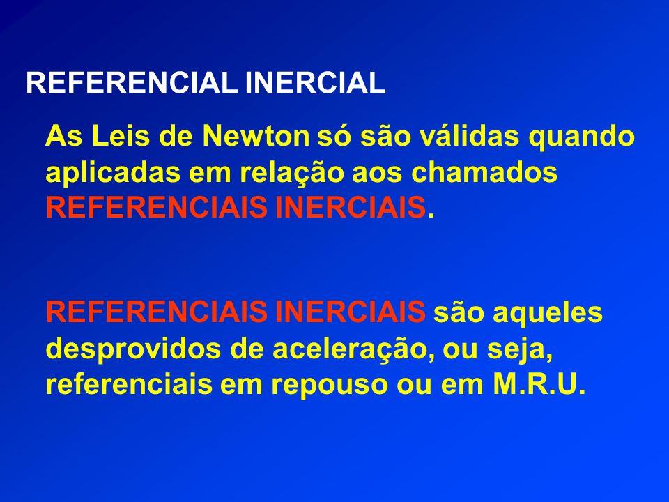 REFERENCIAL INERCIAL As Leis de Newton só são válidas quando aplicadas em relação aos chamados REFERENCIAIS INERCIAIS. REFERENCIAIS INERCIAIS são aque
