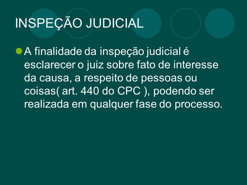 INSPEÇÃO JUDICIAL A finalidade da inspeção judicial é esclarecer o juiz sobre fato de interesse da causa, a respeito de pessoas ou coisas( art. 440 do