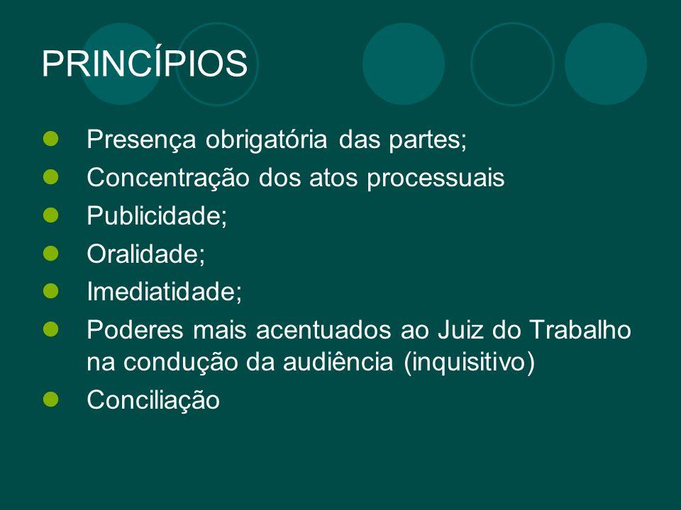 PRINCÍPIOS Presença obrigatória das partes; Concentração dos atos processuais Publicidade; Oralidade; Imediatidade; Poderes mais acentuados ao Juiz do