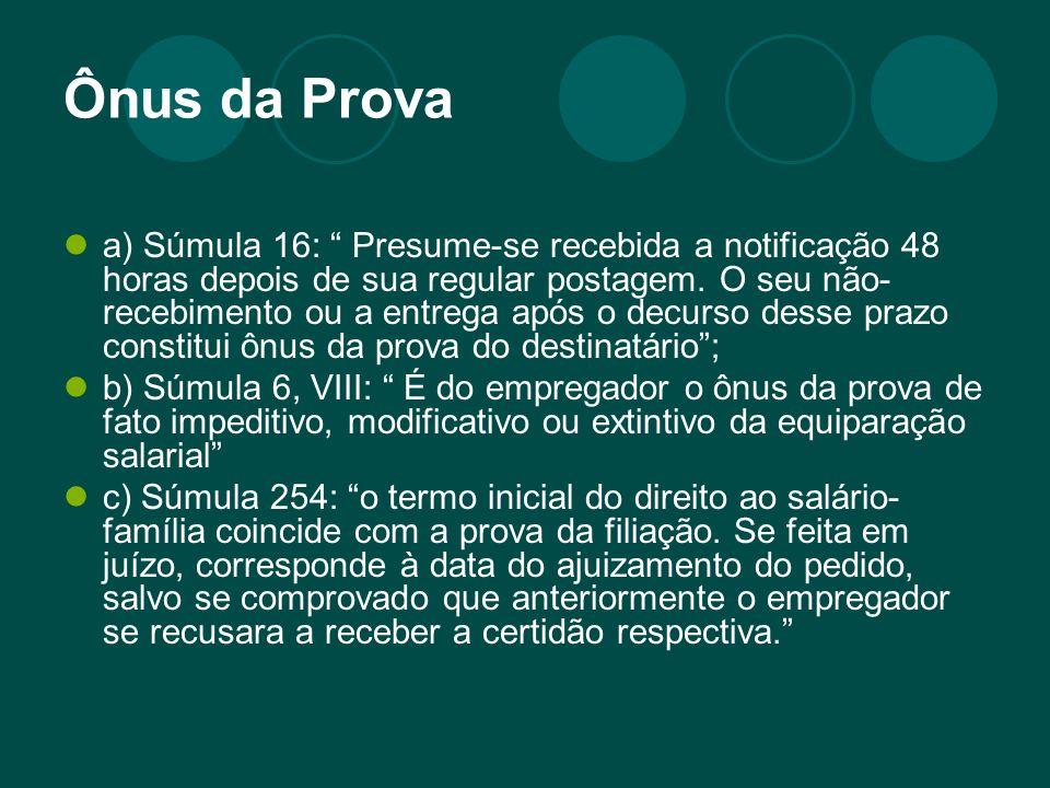 Ônus da Prova a) Súmula 16: Presume-se recebida a notificação 48 horas depois de sua regular postagem. O seu não- recebimento ou a entrega após o decu