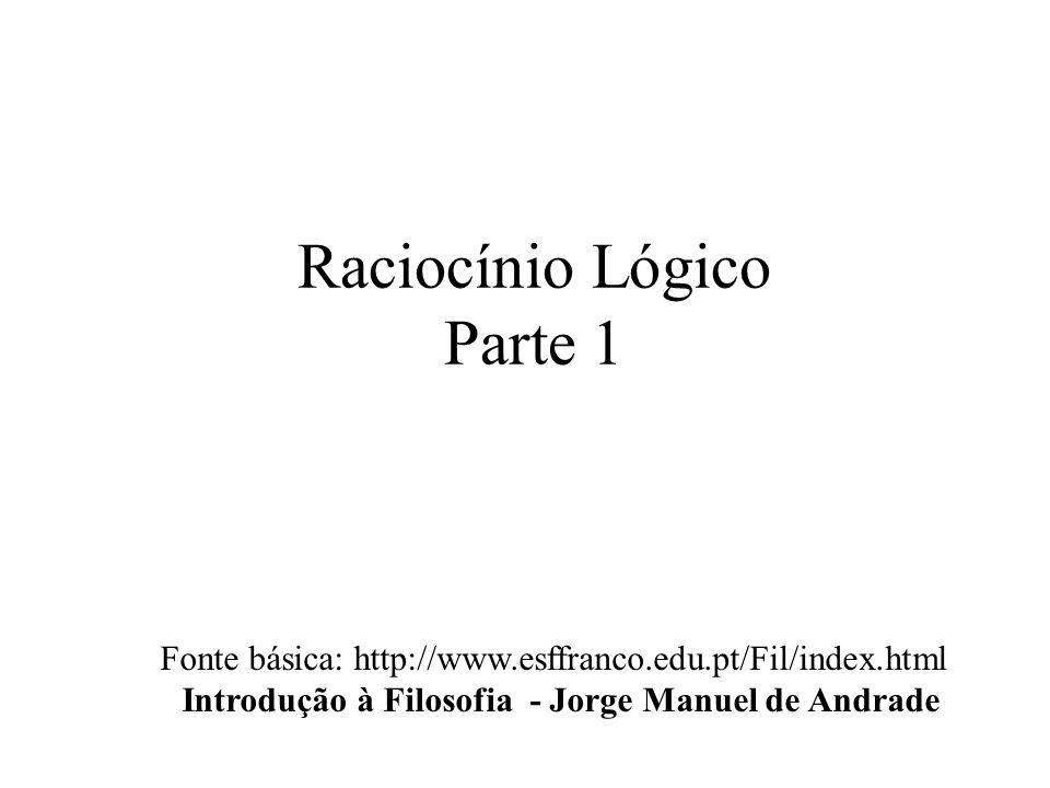 Raciocínio Lógico Parte 1 Fonte básica: http://www.esffranco.edu.pt/Fil/index.html Introdução à Filosofia - Jorge Manuel de Andrade