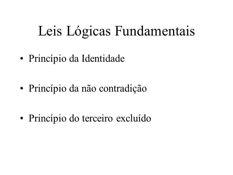 Leis Lógicas Fundamentais Princípio da Identidade Princípio da não contradição Princípio do terceiro excluído