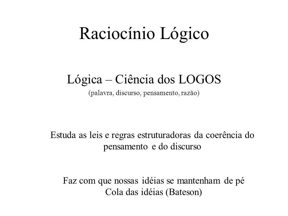 Raciocínio Lógico Lógica – Ciência dos LOGOS (palavra, discurso, pensamento, razão) Estuda as leis e regras estruturadoras da coerência do pensamento