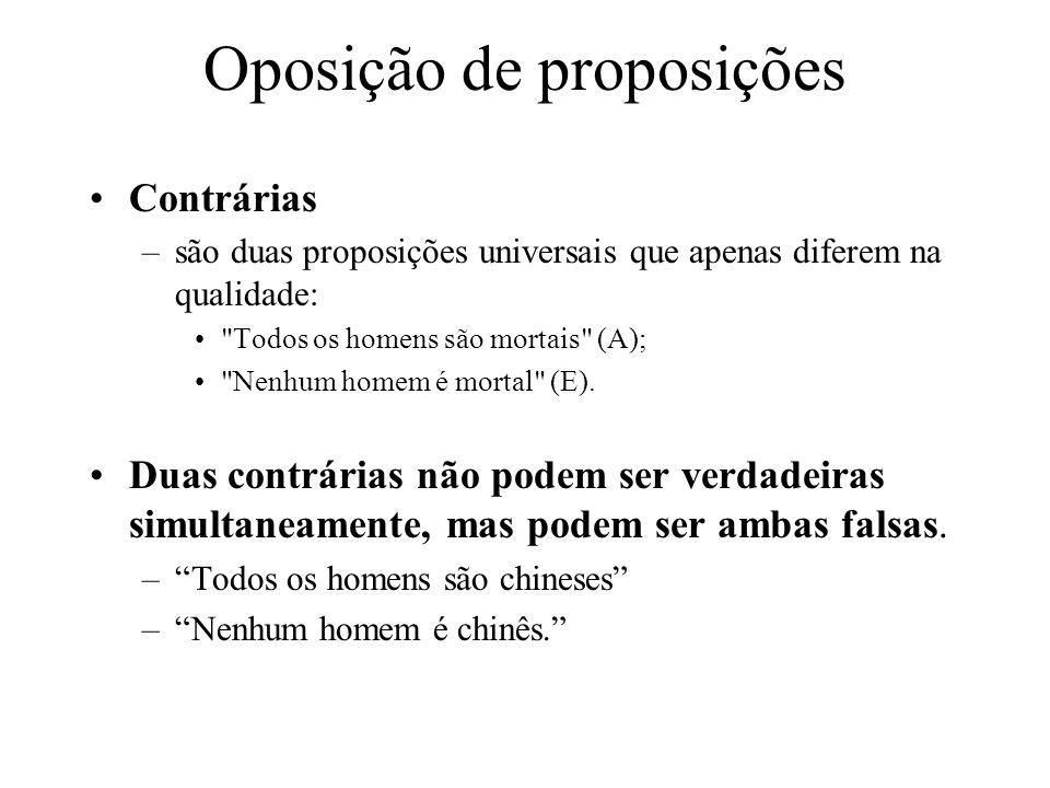 Contrárias –são duas proposições universais que apenas diferem na qualidade: