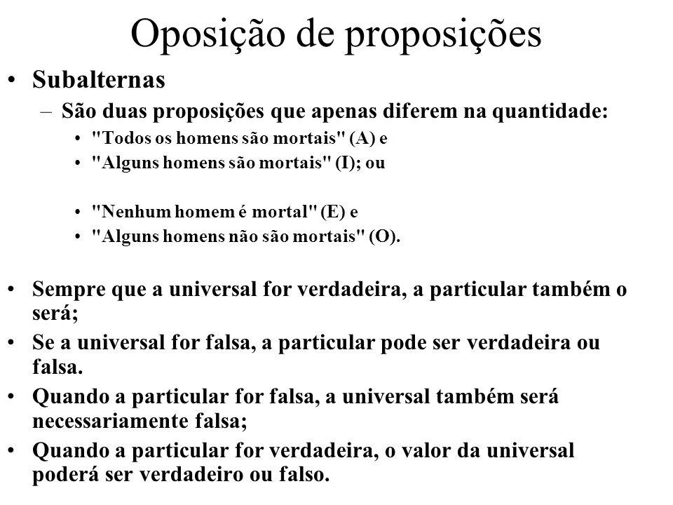 Oposição de proposições Subalternas –São duas proposições que apenas diferem na quantidade: